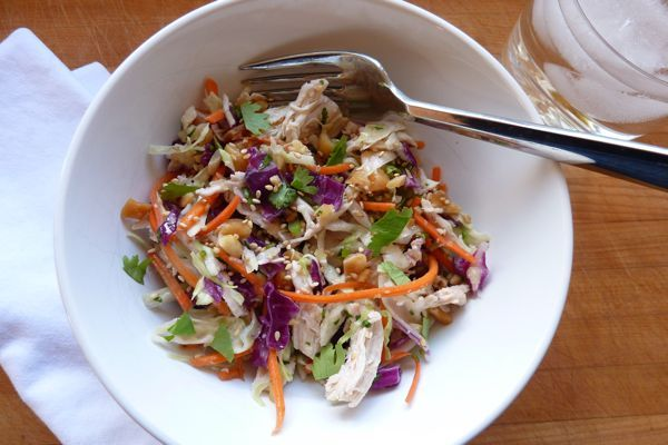 Asian chicken salad.  Will the kids eat this?  We'll see.  I am determined to do more with cabbage in 2012!