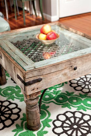 window coffee table- I like the hinges on the side.