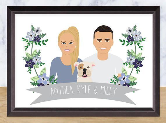 Couple portrait custom illustration paper anniversary gift