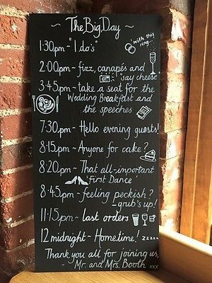 Ceremony/Reception Decorations  Wedding Sign Order of the Day Running Order Signs Personalised £25 o