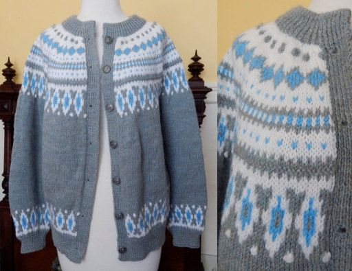 VTG 70's Dale of Norway handknit new wool cardigan sweater jumper chunky boho hippie gray sky blue Ethic tribal Nordic