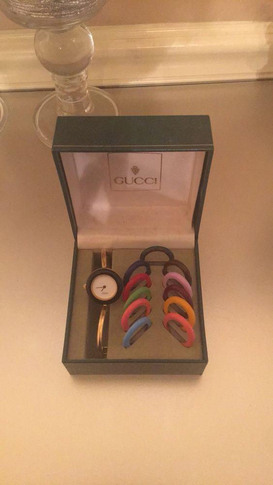 19ca55ac535 Gucci Womens Gold Bangle Watch Model 1100l +12 Bezels and Gucci Box ...
