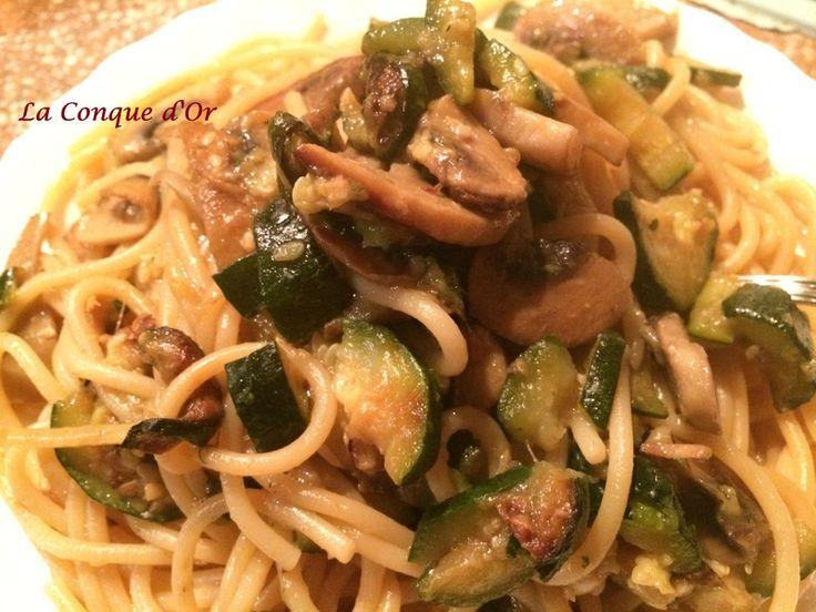 Spaghettis aux champignons et courgettes