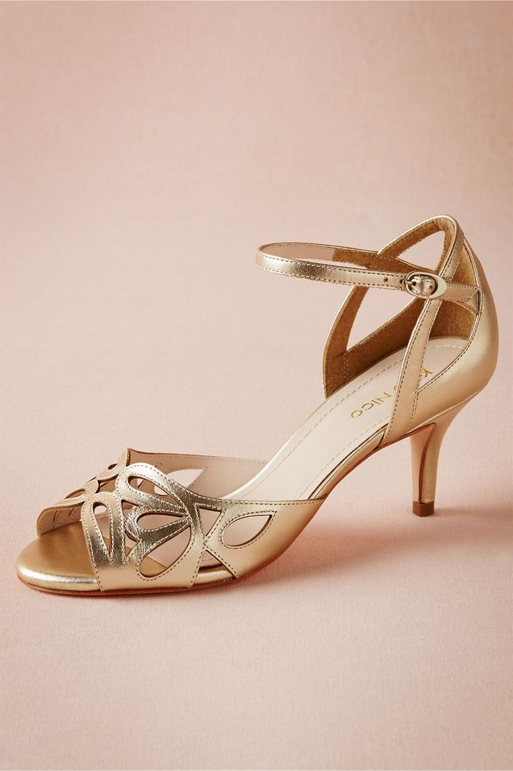 "Lattice Heels - Lattice-sliced champagne leather gives these heels a soft look that goes beyond the wedding day, while the low heel and ankle strap lend them to stepping out on the dance floor. By Klub Nico. Adjustable buckle. Leather upper; leather sole. 2.5"" leather wrapped heel. Brazil. $170"