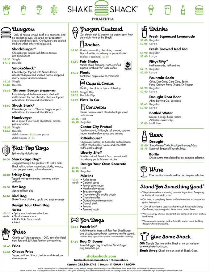 Shake Shack Philadelphia's menu