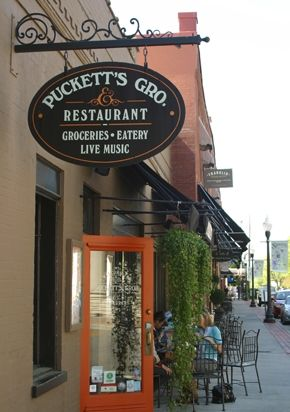 Pucketts Gro. in downtown Franklin... delicious food and live music by singer song writers, many of which wrote now famous songs. Next trip will be for their breakfast!