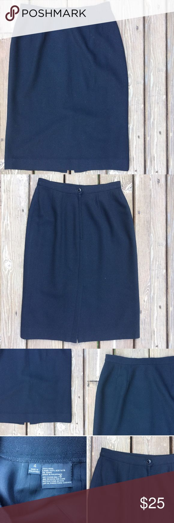 """Gorgeous Vintage Black Wool Pencil Skirt Sz 4 Gorgeous vintage 100% wool skirt! Darts at waist. Hidden back zip with button closure. Back vent. Fully lined.  Approximate measurements- Waist: 13"""" from side to side; Hip: 18.5"""" from side to side; Length: 24"""" measuring center front. (Modeled photo from aliexpress.com does not represent the exact color or the garment for sale, but demonstrates an idea for styling a black pencil skirt). 40.8.4 Skirts Pencil"""