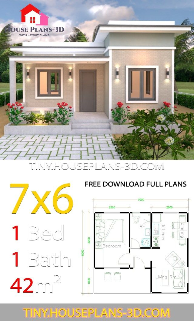 7x6 With One Bedroom Flat Roof One Bedroom House Plans Flat
