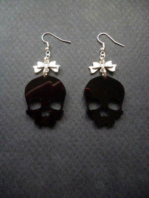 Skull and Bow earrings  Black Skulls  Gothic Skull by BleedingHD