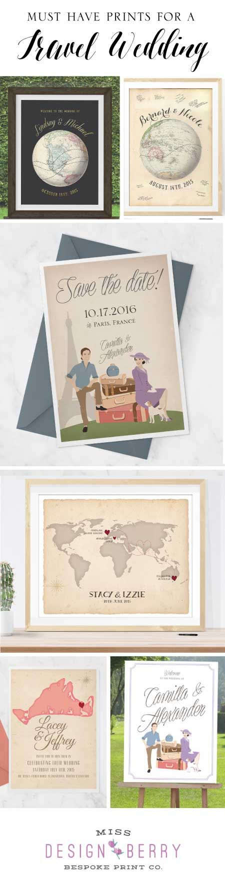 The best travel wedding signs, invites, save the dates, and more!