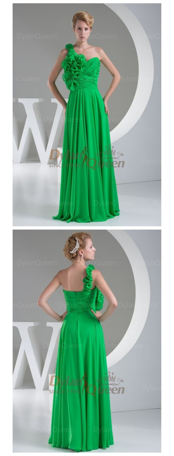 2015  #GREEN  Amazing A-Line/Princess One-Shoulder Sleeveless Hand Made Flower prom/evening dress  @dylanqueen