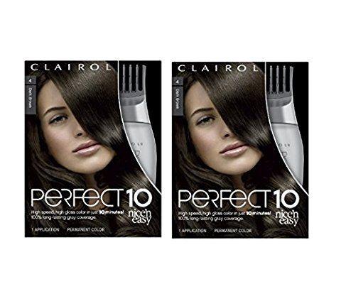 Clairol Perfect 10 By Nice 'N Easy Hair Color 004 Dark Brown 1 Kit (Pack of 2)