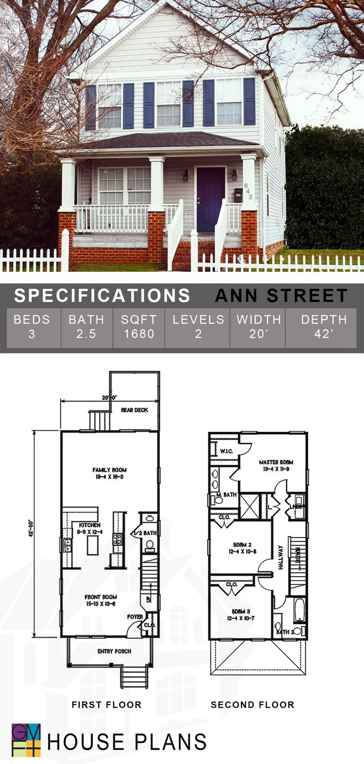 Ann Street House Plans Narrow House Plans Architect House