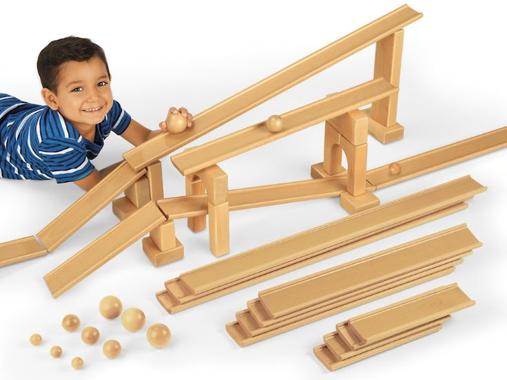 Ramps & Balls Exploration Set - Ramp up the block play excitement! Kids can use our durable wooden ramps and balls—both in three sizes—to create tons of different paths…then send the balls rolling to test them out.