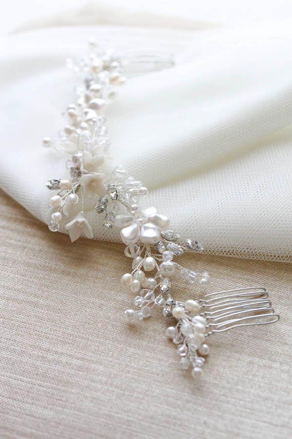 Precious Pearls | Silver bridal headpiece with pearls for Hannah