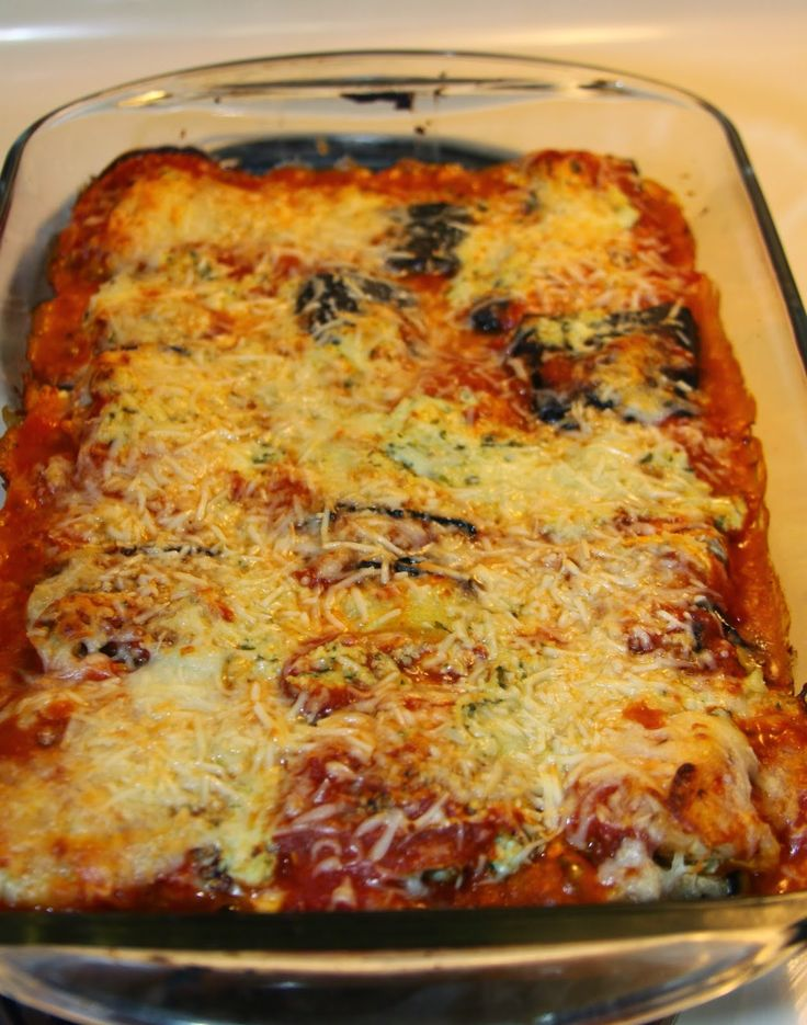 Eggplant Manicotti Love this delicious low cal version of my favorite Italian dish!