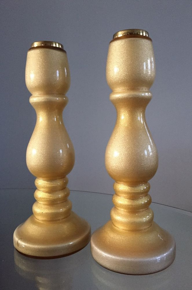 "Pair Villeroy & Boch AVENTURINE Glass CANDLESTICKS 10 5/16"" Yellow Gold Color #VILLEROYBOCH #villeroybochcandlesticks #yellowgoldcandlesticks"