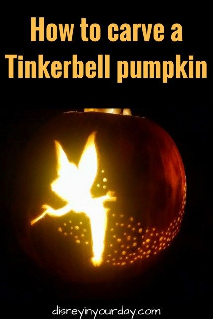 How to carve a Tinkerbell pumpkin - Disney in your Day - step by step instructions for creating this gorgeous pumpkin, perfect to put a little bit of Disney into your Halloween decor!
