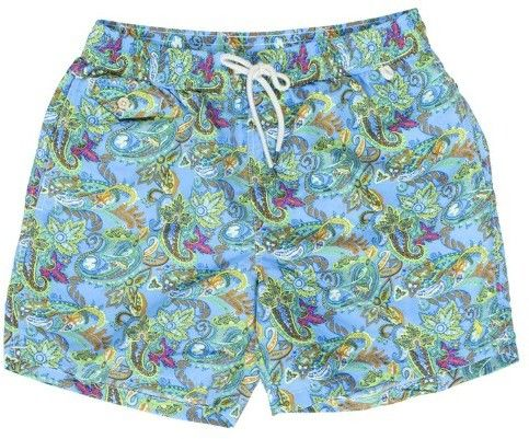 Polo Ralph Lauren Mens Printed Swim Shorts Beach Trunks with Strings (Blue Surf, S)