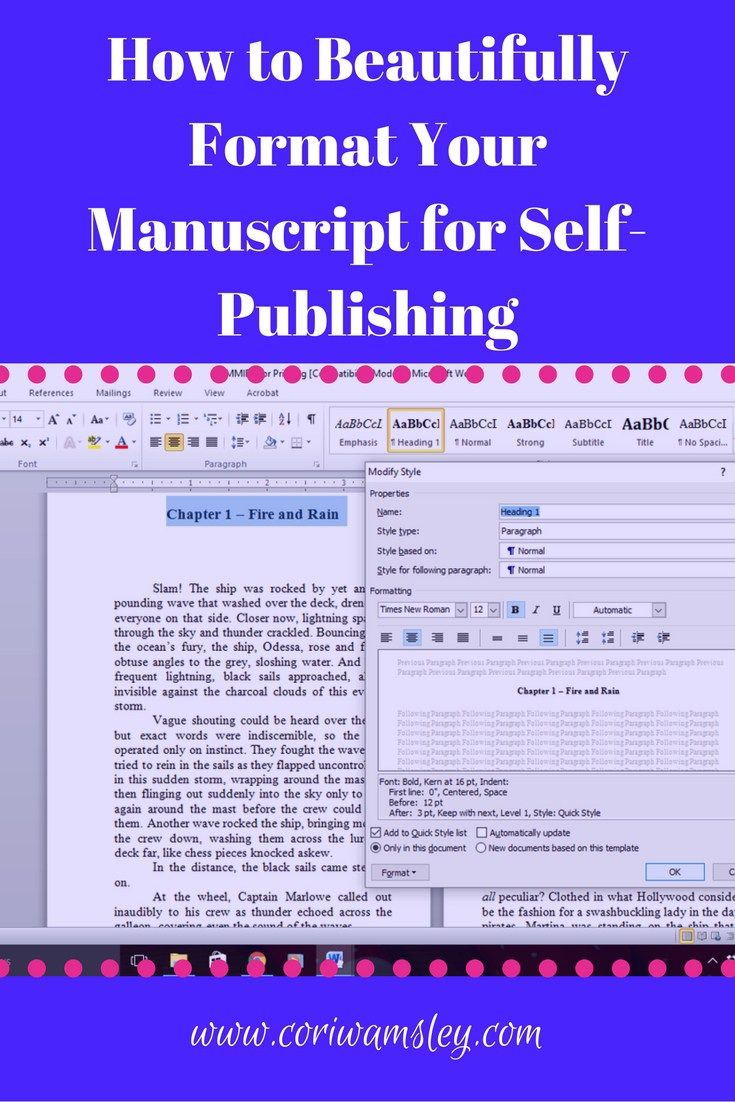 How to Beautifully Format Your Manuscript for Self-Publishing