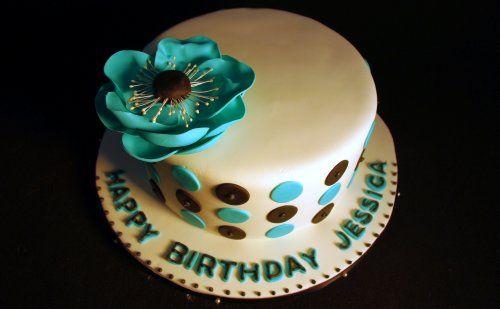 Polka Dots and Anemone Birthday Cake #3 by wickedcakechick, via Flickr