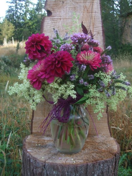 zinnia bouquets | ... flower centerpiece with local and sustainably grown dahlia and zinnia
