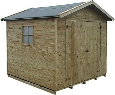 Blokhut Hugo met een afmeting van 225x225cm.  Deze behoort tot de selectie onderhoudsvrije tuinhuisjes omdat deze standaard wordt geimpregneerd.  Dit houten tuinhuisje wordt geleverd met houten vloer en dakbedekking.  http://www.mholf.nl/tuinhuisjes-tuinhuis-1/blokhut-tuinhuis-hugo-tuindeco.html