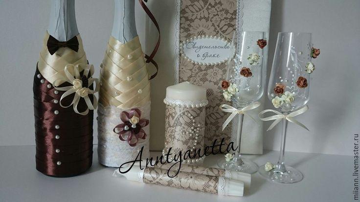 Купить Набор свадебных аксессуаров - шоколадная свадьба, кремовая свадьба, набор свадебный, свечи для свадьбы