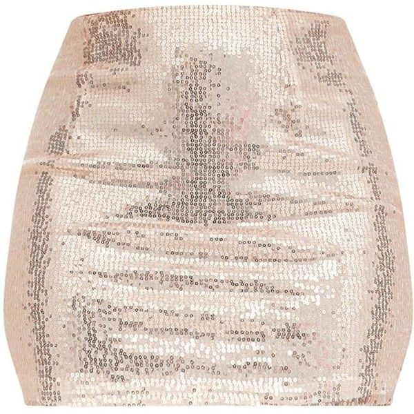Rose Gold Sequin Mini Skirt ($35) ❤ liked on Polyvore featuring skirts, mini skirts, rose gold mini skirt, sequin mini skirt, short mini skirts and pink skirt