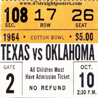 1964 OU -TX Football Ticket Coasters.™ Ceramic drink coasters printed in the U.S.A. and shipped within 24 hours. Made from over 2,000 historic college football tickets. Best last minute Father's Day gifts.