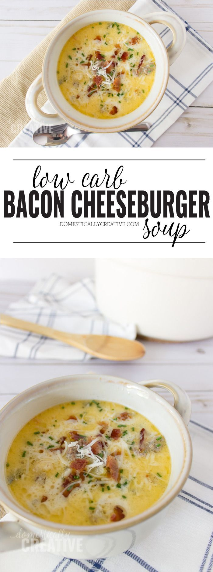 Creamy and hearty Bacon Cheeseburger Soup you can make on the stove top or in the slow cooker. It's packed full of flavor AND a delicious low carb alternative to the traditional soup.
