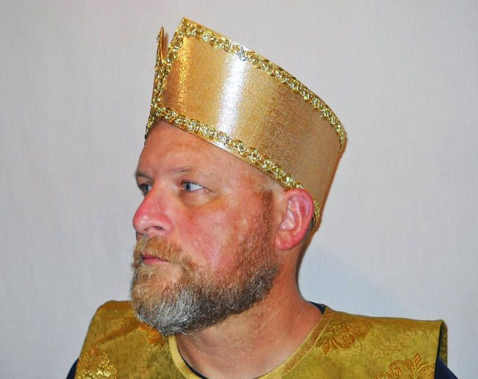 Gold Wise Man Magi Nativity Costume Headpiece Crown with Trim