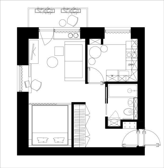 Дизайнер Ксения Драпей из студии «Цуккини» нашла в однокомнатной квартире место для кухни, гостиной, спальни и ванной комнаты. Смотрим, какие приемы помогают сэкономить драгоценные сантиметры