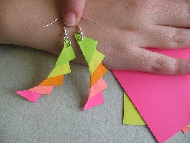 Orecchini di carta con Post-it -Tutorial Origami Paper Jewelry