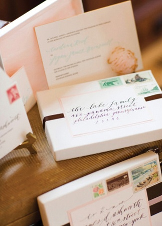 boxed invitations (I did this too!) - love the calligraphy and romantic look of this one!
