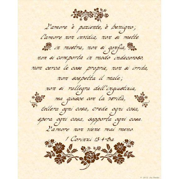 1 CORINTHIANS 13 (1 CORINZI 13) --- 8 X 10 Italiano Hand Written Calligraphy Art Print on Parchment (In Italian) on Etsy, $8.00