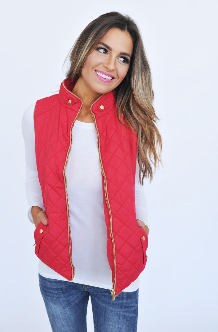 Quilted Vest - Red - Dottie Couture Boutique
