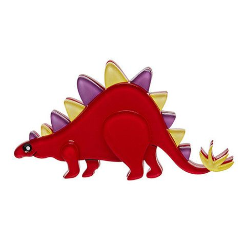 "Erstwilder Limited Edition Scotty Stegasaurus Brooch. ""I'm a pacifist and strict vegetarian, but if you disturb me whist I'm eating, I just might have to introduce you to my spikes."""