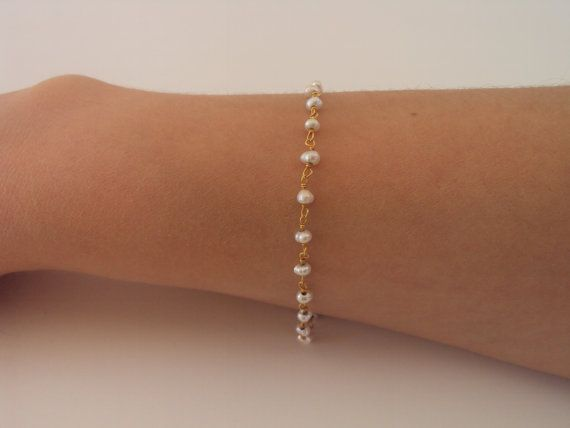 Dainty Gold bracelet Rosary bracelet white by VasiaAccessories
