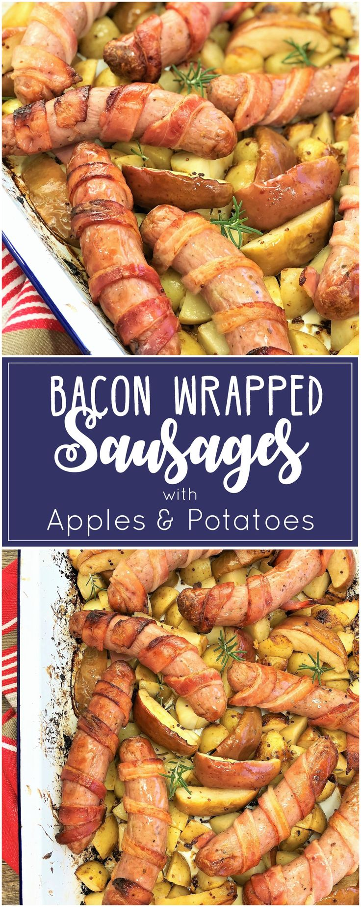 Bacon Wrapped Sausages with Apples & Potatoes | one pot | one pan | tray bake |
