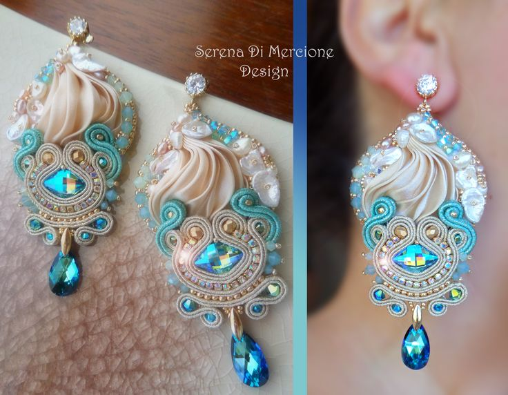 Silk Earrings - Designed by Serena Di Mercione - Beadembroidery and Soutache - Shibori silk, Swarovski, pearls.