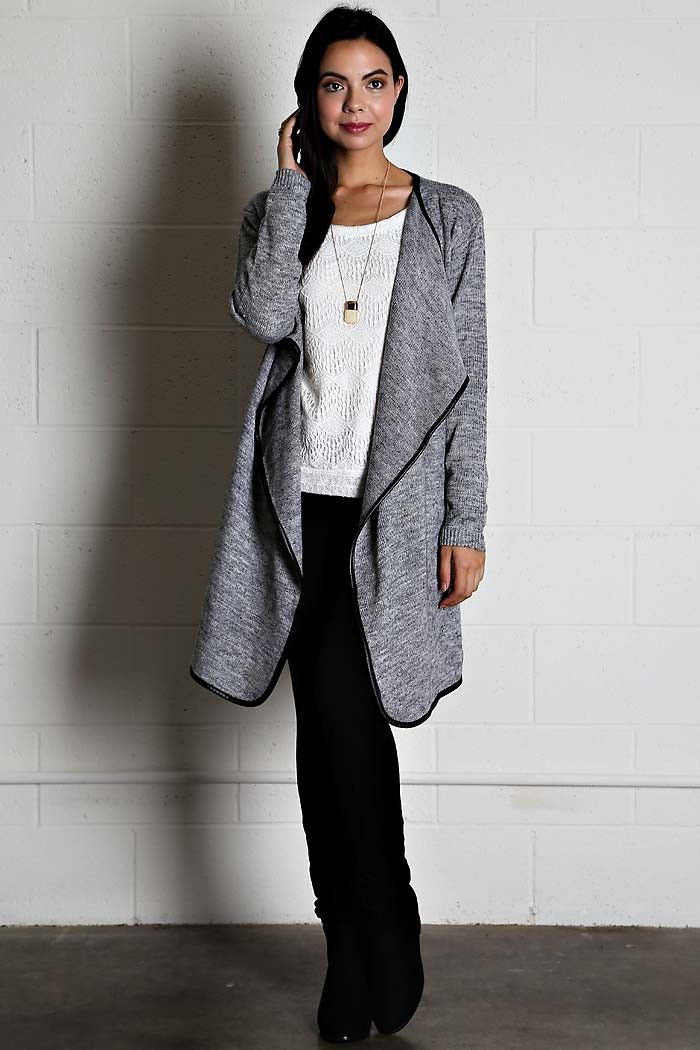 Heather Gray Leather Trim Cardigan – Sweater Weather Co ...