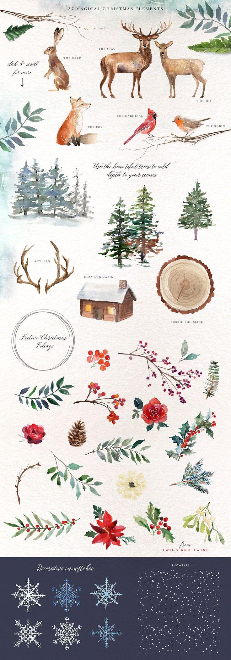 A Woodland Christmas Graphic Set - Illustrations