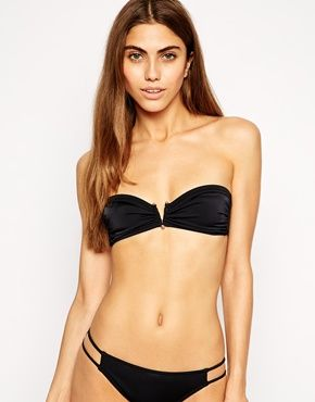 ASOS V Wire Lattice Black Bandeau Bikini Top