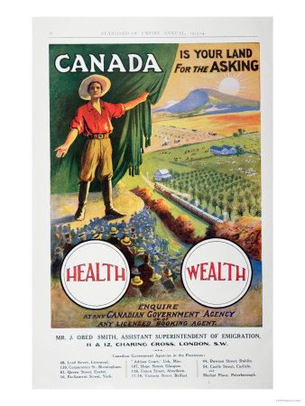 Canadian immigration poster.