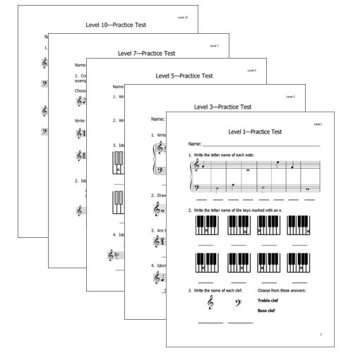Piano theory practice tests levels 1-10
