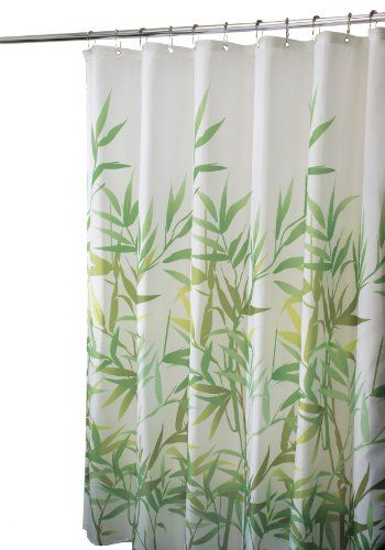 InterDesign Anzu Duschvorhang aus Stoff,  183 x 183 cm, grün