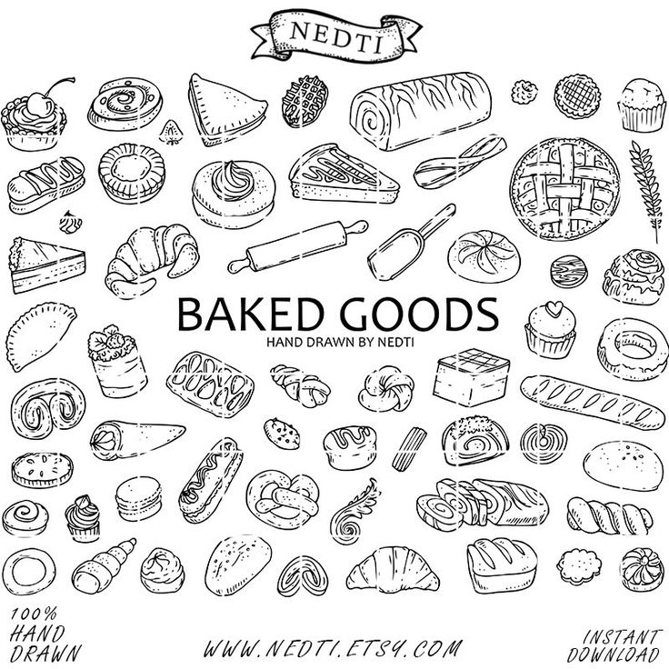 Pastry Doodle Clipart, Baked Goods Clip art, Bakery Illustration, PNG, Hand Drawn by Nedti by Nedti on Etsy https://www.etsy.com/listing/236464248/pastry-doodle-clipart-baked-goods-clip