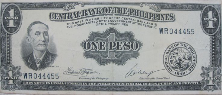 Front: portrait of MABINI (Apolinario Mabini); seal of the Central Bank of the Philippines; serial number WR044455; and signatures of Ferdinand Marcos  (President of the Philippines) and Alfonso Calalang (Governor of Central Bank: 1968-1970).  Back: The Barasoian Church of Malolos, Bulacan