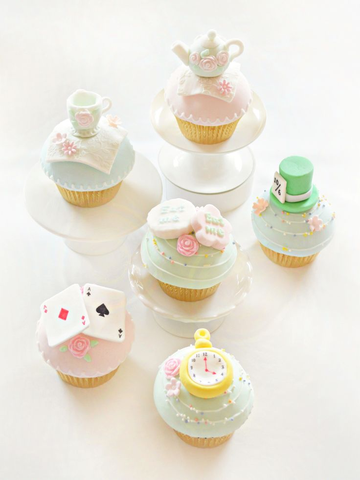 Alice in Wonderland Theme Teapot Saucer Mad Hatter Playing Cards Cupcakes Cookies Birthday Party Cake Table Cherie Kelly London   Chérie Kelly